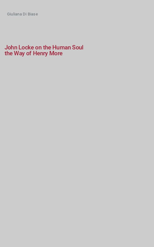 John Locke on the Human Soul the Way of Henry More